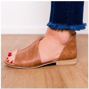 LIZA-Open Toe Whiskey Slip On Flat